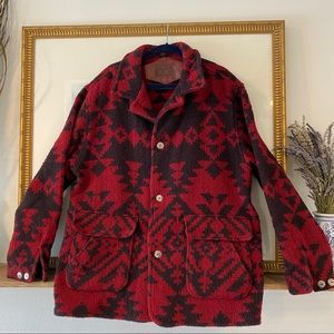 VTG Woolrich Aztec Native Blanket Coat Western